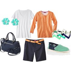 teal, navy, and orange. buy this outfit here. #bagleybeautyshoppe