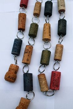 Wine Cork Garland - multi-colored wine corks - cork garland - holiday decor - under 20