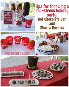 Hot Chocolate Bar and Shari's Berries Dessert Table Tips for throwing a  low-stress holiday party. #HolidayBerries
