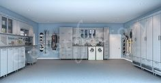 This is what I want to go for in the garage, right down to the wall and floor colors. I want to rip out the laundry room and put folding doors in front of the washer and dryer. Add a sink like the one for washing pets. I will have to look into how expensive these cabinets are, they sure are nice. Wow, I think its possible we could end up with a garage that we could park our cars in. -CAB