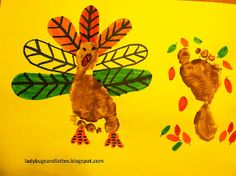 footprint turkey and tree with falling leaves