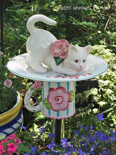 RESERVED for MARSHA C. - Garden Totem Stake White Kitten - As Featured In Flea Market Gardens Magazine