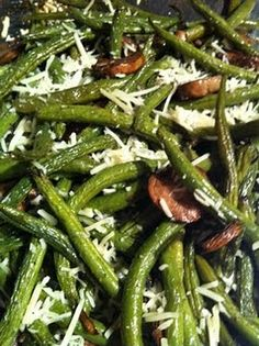 Balsamic Roasted Green Beans, mushrooms and Parmesan