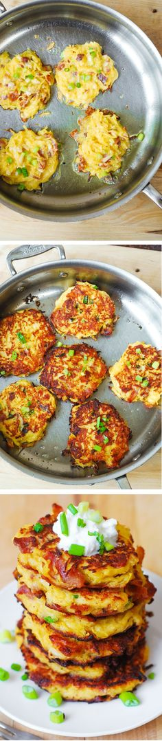 Bacon, Spaghetti Squash, and Parmesan Fritters. So unbelievably good! Kids love these - what a great way to incorporate veggies! Serve with a dollop of Greek yogurt. #gluten_free #snacks #appetizers