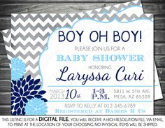 Boys Baby Shower Invitation - Modern, Chevron, Navy, Light Blue, Mums, Printable, Digital on Etsy, $13.00