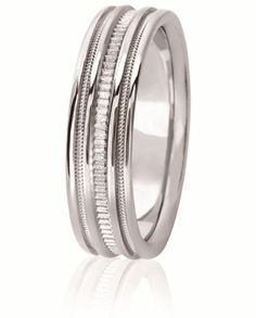 Sandblasted Contoured Center Design Comfort Fit Wedding Band With Milgrain Inlay For Men And Women. Available With Various Finishes In Your Choice Of 14K & 18K White, Yellow & Rose Gold, Platinum & Palladium