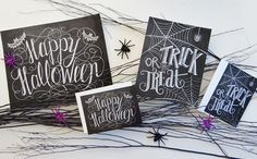 Happy Halloween Sign Halloween Chalkboard Art by LilyandVal