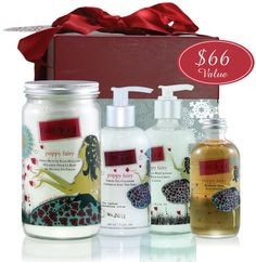 Fruit butter bath mixture, green tea cleanser, bubbling bath & olive fruit body lotion.