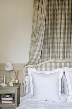 Beige checks, toile & white linen