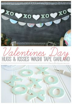 Valentine's Day Hugs & Kisses Washi Tape Garland thecraftedsparrow.com