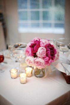 Pink peony centerpiece by Gardenia Organic