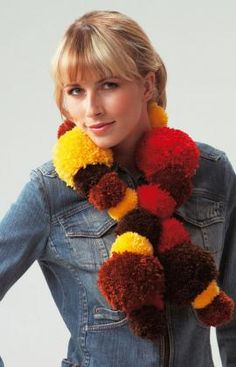 Scarf with Pompoms