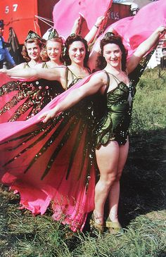 1950s Women Circus Performers In Winged Costimes with beads and jewels