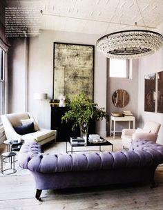 lavender tufted sofa