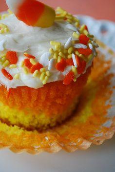 Candy Corn Cupcakes  @yourhomebasedmom.com