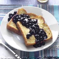 Baked French Toast with Blueberry Sauce Recipe from Taste of Home -- shared by Debbie Johnson of Centertown, Missouri