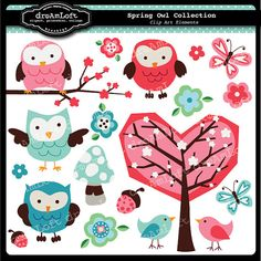Spring Owls Collection Clip Art for digital by DreAmLoft on Etsy, $4.99