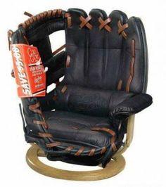 modern chair, stuff, baseball, chairs, glove chair, sport, gloves, man caves, basebal glove