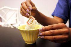 Floral mani + @Anthropologie mug