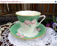 Royal Grafton Tea Cup and Saucer -  Green and White with floral decor