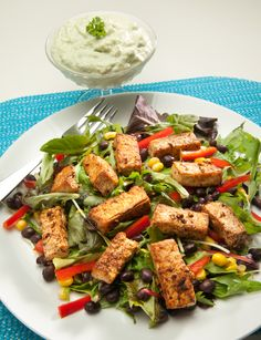 Spicy Tofu Salad with Avocado-Yogurt Dressing