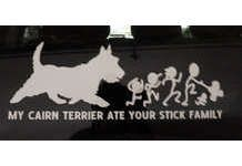 AUTO WINDOW DECAL - MY CAIRN TERRIER ATE YOUR STICK FAMILY! Ha ! On sale at the Col Potter WebThrift Store!