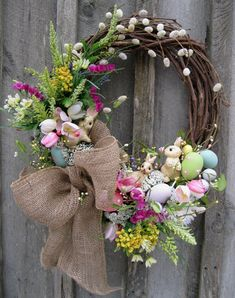 Woodland Easter Bunny Wreath by procelebrations $109 #etsy