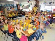 """Mrs. Jan's Pre-Kindergarten class celebrates winning Round 2 of the Classroom Competition with a Popcorn and Movie Party!  Yep, we are having a """"POPPING"""" successful year with Box Tops!"""