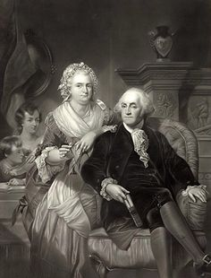 George and Martha Washington with their children John Parke Custis and Martha 'Patsy' Parke Custis, lithograph engraved Henry Bryan Hall after a painting by Alonzo Chappel.