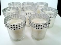 Votive Candles Silver Bling Rhinestone Diamond Crystal Wedding or Party Votive Candles 25 Pc Lot