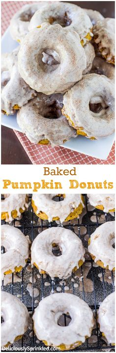 Baked Pumpkin Donuts with Cinnamon Glaze, these donuts are so easy to make and were a HUGE hit at our house! Will be making these again soon! :)