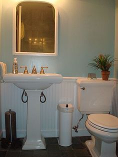 Small bathroom remodel love the color and beadboard