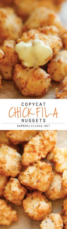 Copycat Chick-fil-A Nuggets - Just like Chick-Fil-A, but it tastes 10000x better! And the homemade honey mustard is out of this world! #recipe #chicken