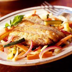 summer vegetables, seafood, saute stripe, cooking light, stripe bass, recip, cook light