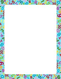 A great border for math teachers featuring numbers and math symbols in different colors. Free downloads at http://pageborders.org/download/math-border/