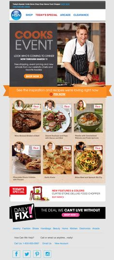 Pinterest-integrated email marketing from HSN with Pinnable recipes. The email also encourages people to visit the brand's Pinterest board.
