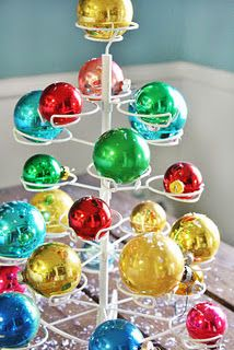 Vintage ornaments on a cupcake stand
