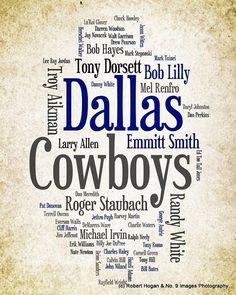 Dallas Cowboys  Greatest Football Players  8x10 Word by no9images, $15.00