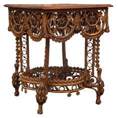 Spectacular Victorian Wicker Table  United States  1890's