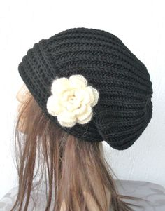 Hand Knit Hat Womens hat  chunky knit Slouchy  Black
