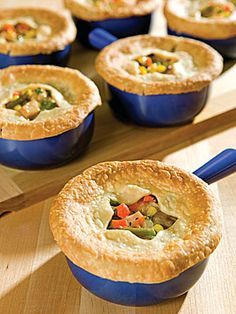 Pot Pie Recipe (use turkey or venison):  I would definitely opt for fresh veggies (and a few different ingredients & gravy), but provides basic direction on baking individual servings in ramkins.