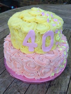 ... yellow, beauti cake, cake idea, 40th birthday, friend, birthday cakes