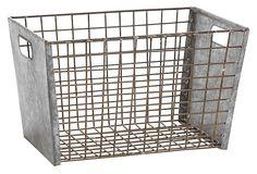 "Metal Wire Basket  -  15"" x 10""  x 9""  -  OneKingsLane.com  -  ($80.00)  $35.00"