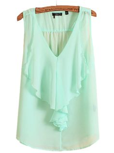 Mint Ruffled Top