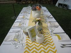 Modern, graphic wedding table settings