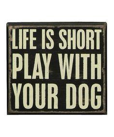 Look at this #zulilyfind! 'Play With Your Dog' Box Sign #zulilyfinds