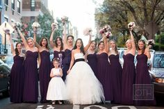 Wedding gown by Vera Wang, Bridesmaids gowns by Monique Lhuillier ~ Photography by christianothstudio.com