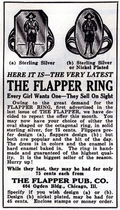 """""""THE  FLAPPER RING - Every Girl Wants One"""" - its true I want one! only .75!"""