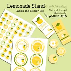 Lemonade labels and printables (set also comes in pink). So sweet.