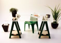 Miniature IKEA Inspired VIKA Desk Kit for 1:12 Scale Modern Dollhouse in Wood. $16.50, via Etsy.